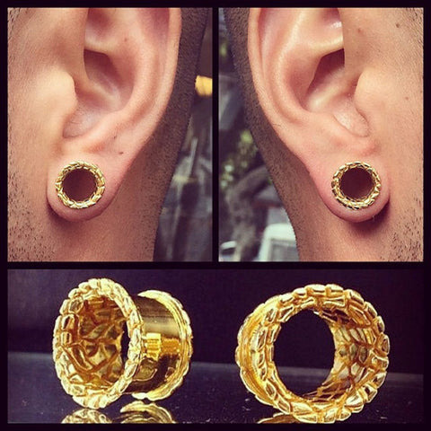1Pair Hot Antique Brass Snake Skin Pattern Flesh Tunnel Double Flared Ear Plugs Piercing Gauges  Fashion Body Jewelry 10mm-25mm - onlinejewelleryshopaus