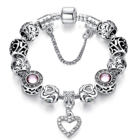 Original Silver Plated Charm Bracelet for Women With Exquisite Crystal Bead Safety Clasp Jewelry Gifts PS3495 - onlinejewelleryshopaus