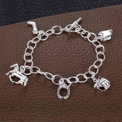 Unique Design luxury pure silver charm bracelet for women lady horse pendant lovely 925 silver children baby bangle bracelet hot - onlinejewelleryshopaus