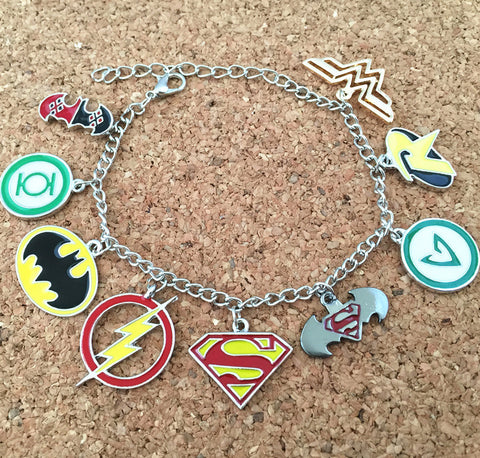 Freeshipping 20pc a lot Justice league charm bracelet W01 - onlinejewelleryshopaus