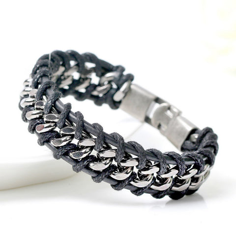New 2017 Fashion Brand Leather Men's Bracelets European Style Boys Knight Courage Stainless Steel Woven Charm Bracelets. - onlinejewelleryshopaus