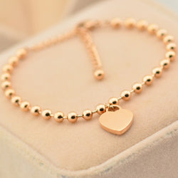 Fashion Rose Gold Plated Stainless Steel Heart Charm Bracelet Link Rosary Beads Chain Bracelets Pulseras Jewelry For Women - onlinejewelleryshopaus