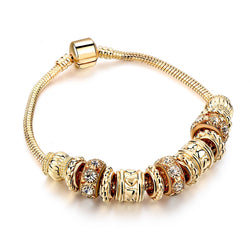 Luxury Crystal Charms Bracelet Women Fashion Gold Beads Diy Bracelets Bangles Friendship Jewelry SBR160240 - onlinejewelleryshopaus