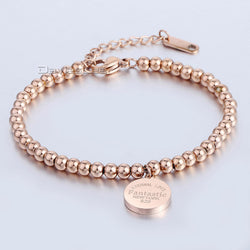 3mm Womens Girls Ladies Silver Rose Tone Gold Plated Ball Bead Link Stainless Steel Chain Charm Bracelet Adjustable LKB504 - onlinejewelleryshopaus