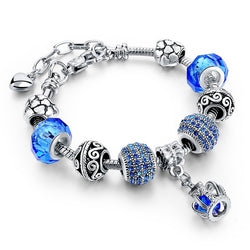 Crown Charm Bracelet For Women Blue Crystal Bracelets Bangles Ladies Jewelry Gift SBR160086 - onlinejewelleryshopaus