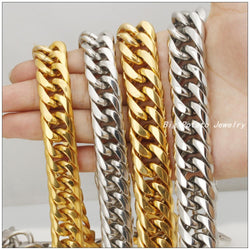 7-40inch 16/20mm Width Customized Size Fashion Stainless Steel Silver Yellow Gold  Cuban Curb Necklace/Bracelet Cool Men Jewelry - onlinejewelleryshopaus