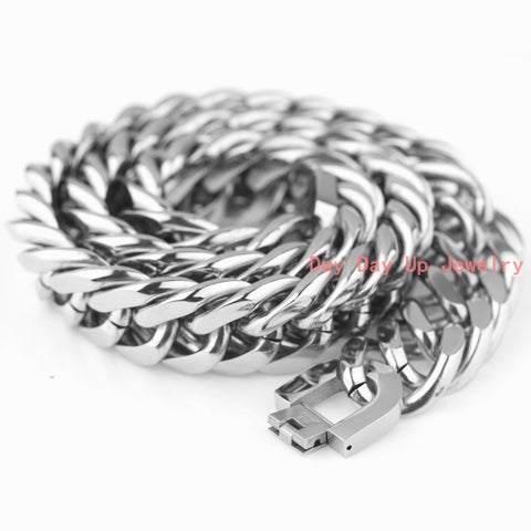 "18/21MM Huge Heavy 316L Stainless Steel Silver Curb Cuban Chain Polished Gift Men's Necklace Or Bracelet Cool Jewelry 7""-40"" New - onlinejewelleryshopaus"