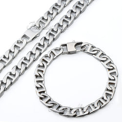 Trendsmax Mens Boys Chain Puffed Marina Silver Tone 316L Stainless Steel Necklace Bracelet Wholesale Jewelry Gift HS09 - onlinejewelleryshopaus