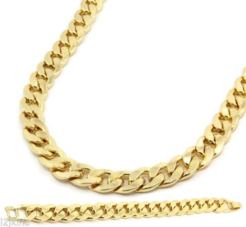 Mens Gold Plated Cuban Hip Hop Miami Necklace Chain & Bracelet 15mm 30 Inch - onlinejewelleryshopaus