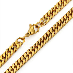 New Mens Jewelry 6mm/8mm/ Stainless Steel Gold Plated Curb Cuban Link Chain Necklace Or Bracelet 18inch-36inch Free Choose - onlinejewelleryshopaus