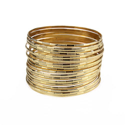 2016 Fashion Gold Plated Punk Style Set Bangle 20pcs Rounds Every Pack Cuff Bracelets Trendy Stainless Steel Bangles For Women - onlinejewelleryshopaus