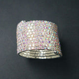 10 ROWS RHINESTONE CRYSTAL SPIRAL BANGLE BRACELET CUFF/CROSSDRESSER/DRAG QUEEN Jewelry - onlinejewelleryshopaus