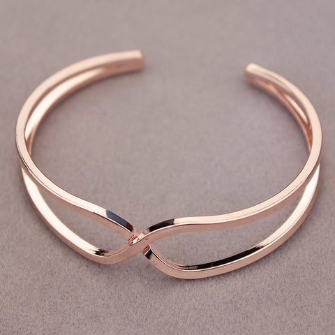 New Elegant Unique Design Female Jewelry Rose Gold Plated Simple Metal Cuff Bracelets&Bangle Open Charm Bracelet For Women S1611 - onlinejewelleryshopaus