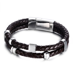 Meaeguet Vintage Authentic Double Leather Woven Bracelet Men in Brown Stainless Steel Magnetic Clasp Charm Wrap Bangles Pulseras - onlinejewelleryshopaus