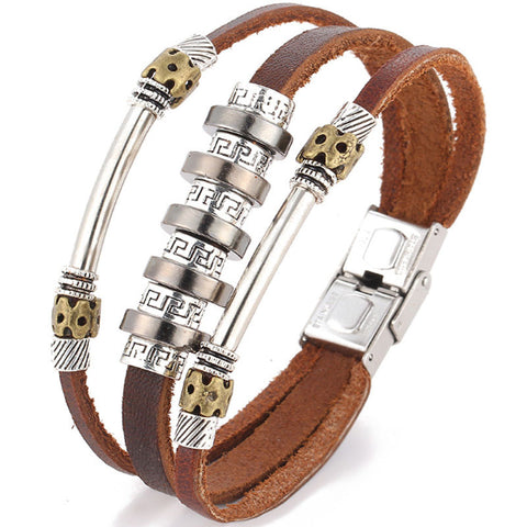 20-22cm  Multilayer Khaki PU Leather Charm Cuff Bracelet Bangle Women Men Punk Design Jewelry Alloy Silver Plated Europe Ethnic - onlinejewelleryshopaus