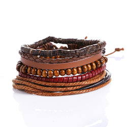 Bamboo wood Bead Vintage Pull-Closure Leather Bracelet Men's Fashion Bracelet Cuff Braided Bracelets Women Jewelry Drop Shipping - onlinejewelleryshopaus