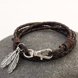New Hot Fashion Leather Wrap Braided Wristband Couple Cuff Punk Bracelet Bangle D01136 - onlinejewelleryshopaus