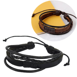 Retro Punk Wrap Multilayer weaving Leather Braided Wristband Bracelet Cuff Charm Bangle Fashion jewelry for men women E5145a - onlinejewelleryshopaus