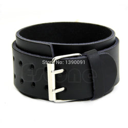 J117New Adjustable 2 Layer Men Faux Leather Wristband 2 Buckle Cuff Bangle Bracelet-J117 - onlinejewelleryshopaus