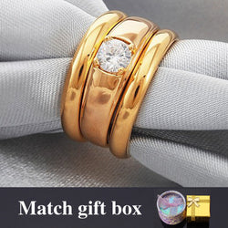 Wedding Ring Set For Men And Women Couple Gift Gold Plated Jewelry Cubic Zirconia His And Hers Promise Ring Sets R05 - onlinejewelleryshopaus