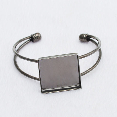 10pcs 25mm Square Pad Cuff Glass Cabochon Brass Blank Base Adjustable Bangle Settings For Making Jewelry Bangle Bracelet - onlinejewelleryshopaus