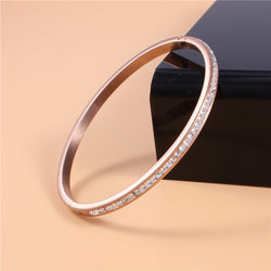 2017 Trendy PVD Rose Gold Filled Ladies Stainless Steel Luxury AAA Cubic Zirconia Bangles Bracelet Women Fine Jewelry Wholesales - onlinejewelleryshopaus