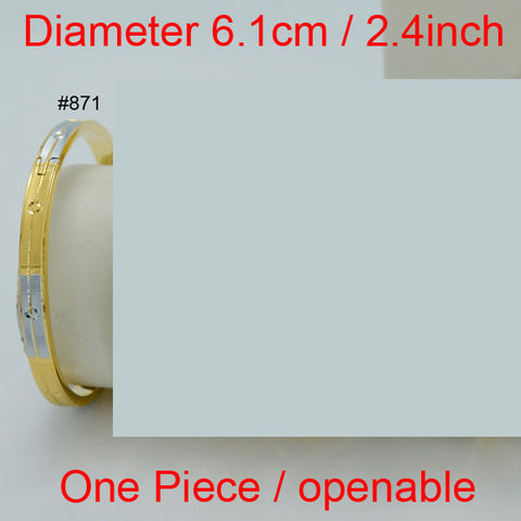 1 Piece,Diameter 6.1cm,Can Open,Two Tone Bangle Women Dubai Bracelet Jewelry Arab Bangle Africa Gift Mom/Wedding Items #008702 - onlinejewelleryshopaus