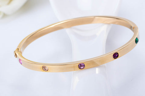 2017 Love 4MM Stainless Steel Luxury Brand Rose Gold Plated Colorful Crystal Buckle Nail Bangle Bracelet Women Gift - onlinejewelleryshopaus