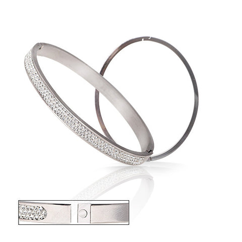 Wholesale  Stainless Steel Bangles Jewelry With Good CZ Crystal Beads Free Shipping - onlinejewelleryshopaus