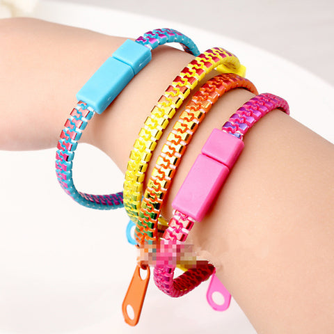 10 pcs colourful  zipper bracelet/creative/students popular adorn article fashioin bracelets bangles for women and men - onlinejewelleryshopaus