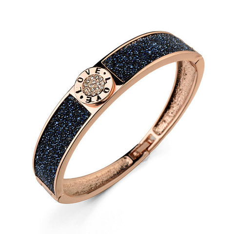 new listed rose gold plated thick dark blue rhinestone charms bangle for women fashion bulgar jewelry (B38021) - onlinejewelleryshopaus
