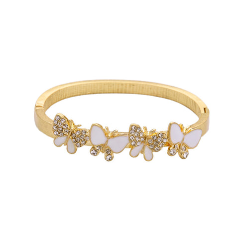 Thick Chain Zinc Alloy Cuff White Enamel Crystal Butterfly Bangle Ladies Brand New Gorgeous Bridal Jewelry - onlinejewelleryshopaus