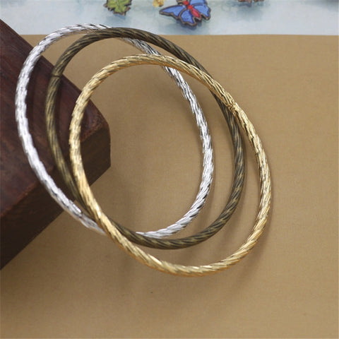 10Pcs Metal Bangles 3MM Thickness 3 Colors Plated Classic Carved Bangles - onlinejewelleryshopaus