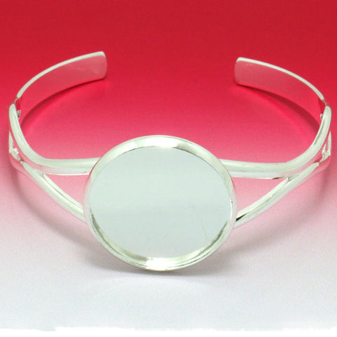 10X Bulk Price Thickness Silver plated Cuff Bangle&Bracelet Jewelry Branks Findings with Inner 25mm Tray for Glass Cabochon - onlinejewelleryshopaus