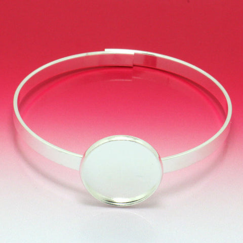 10X/lots Thickness Silver plated Cuff Bangle&Bracelet Jewelry Brank Findings with Inner 20mm Tray for Glass Cabochon - onlinejewelleryshopaus