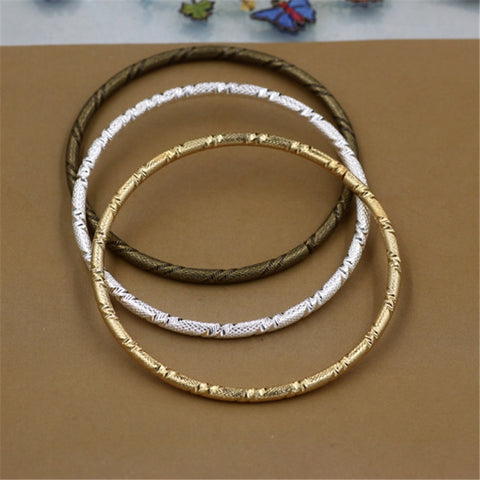 10Pcs Metal Bangles 3MM Thickness 3 Colors Plated Classic Carved Bangles for Women - onlinejewelleryshopaus