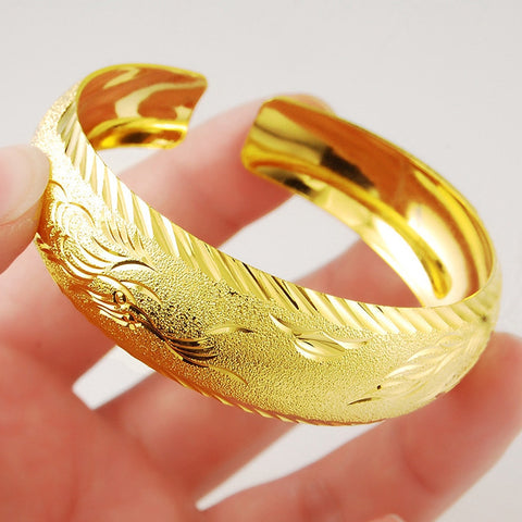 Thick Widest  Yellow Gold Filled Womens Cuff Bangle Patterned Bracelet  Perfect Gift - onlinejewelleryshopaus