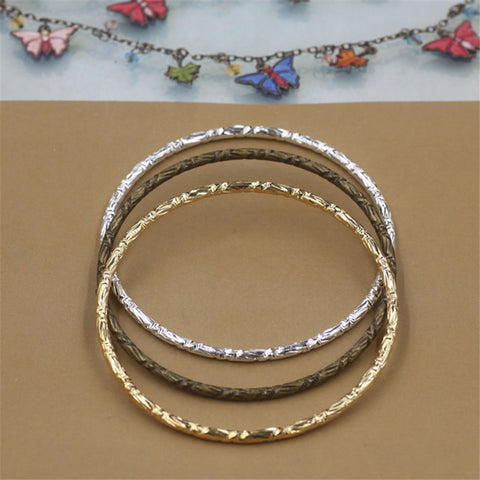 10Pcs Wholesale Metal Bangles 3MM Thickness Line 3 Colors Carved Bangles for Women - onlinejewelleryshopaus