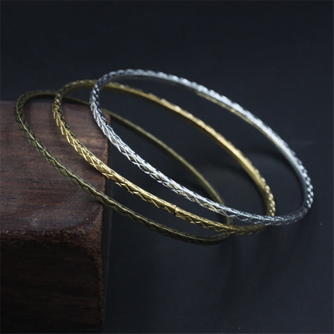 10Pcs Wholesale Metal Bangles 2MM Thickness 3 Colors Plated Classic Carved Bangles - onlinejewelleryshopaus