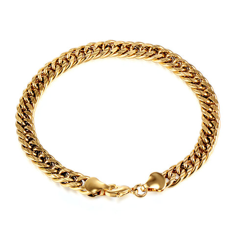 Hyperbole Classic Gold Plated Thick Cuban Link Chain Thick Bangle Bracelet For Women Men Hot Sale Lovers Fashion Jewelry Gift - onlinejewelleryshopaus