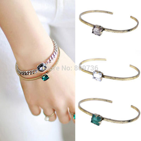 New Chic Women Square Rhinestone Cuff Bangles Bracelets Thin Open Bracelet Girls Charm Jewelry For Party Gift Green White - onlinejewelleryshopaus