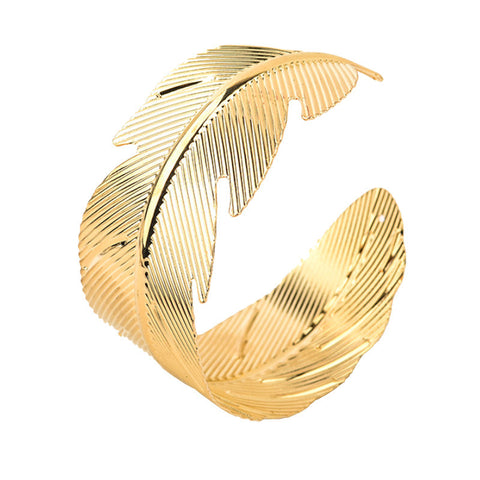 2016 New Design Metal Leaves Gold Stretch Punk Style Bangles Thin Fashion Open Wristband For Women Pulsera - onlinejewelleryshopaus