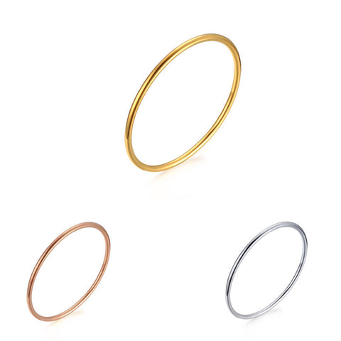 3MM Stainless Steel Smooth Solid Bangle Fashion Simple Ms. Jewelry Thin Bangle - onlinejewelleryshopaus