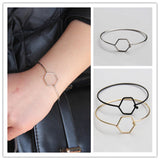 2017 Girl's Lady Fashion Gold/Black/Silver Tone Jewelry Hexagon Bracelet Thin Bangle RAS - onlinejewelleryshopaus