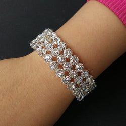 3-ROW CRYSTAL BIG RHINESTONE STRETCH SILVER CLEAR WEDDING BEAUTY PAGEANT CUFF BANGLE BRACELET BRIDAL JEWELLERY ACCESSORIES - onlinejewelleryshopaus