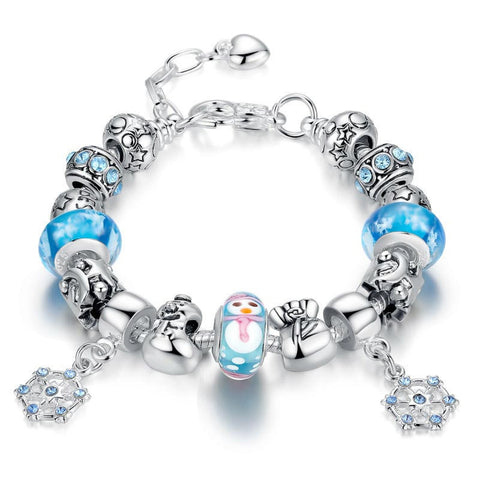 VOROCO Luxury Silver Plated Charm Bracelets amp Bangle for Women With High Quality Snowman Murano Glass Beads DIY Gift P1807 - onlinejewelleryshopaus