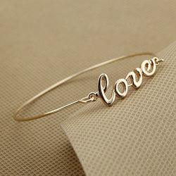BOLIZE 2017  Girl's Lady Fashion Gold/Silver Jewelry Cute Love Bracelet Thin Bangle RAF-love - onlinejewelleryshopaus