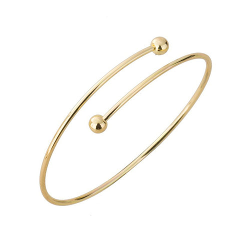 Wholesale 2016 Women's Personality Exaggerated Double Ball Thin Wire Warp Bangle Cuff Bracelet 10PCS-G017 - onlinejewelleryshopaus