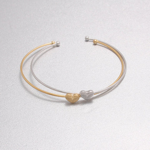 1PCS-G046 Textured Mini Size Love Heart Thin Wire Bangle Cuff Bracelet - onlinejewelleryshopaus