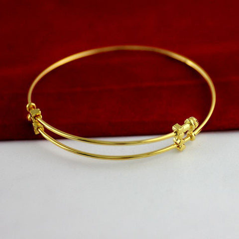New Super Thin Bangle  Yellow Gold Filled Charm Women's Bangle Adjustable - onlinejewelleryshopaus